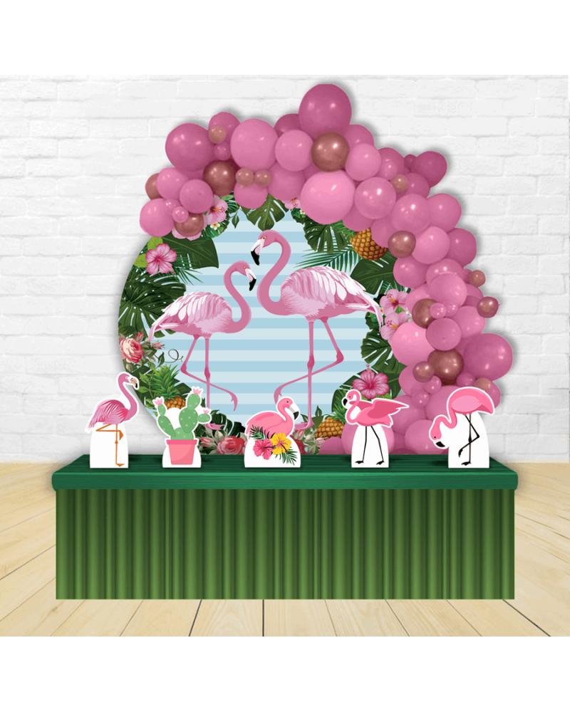 Kit Festa Redondo Flamingo Rosa