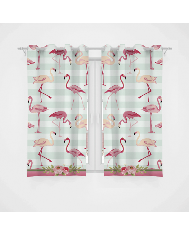 Cortina Decorativa Flamingos