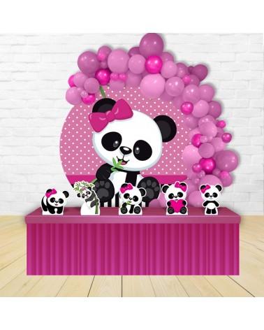Kit Festa Redondo Panda Rosa